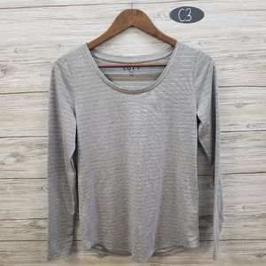 Loft Grey Long Sleeve With Silver Metallic Stripes